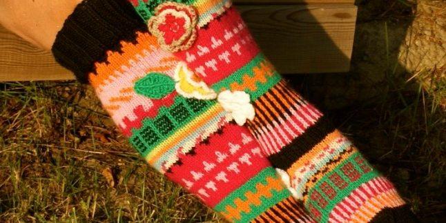 Örgü bayan çorapları